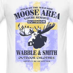 Moose Land - Sweden Vintage Flag T-Shirts - Men's Slim Fit T-Shirt