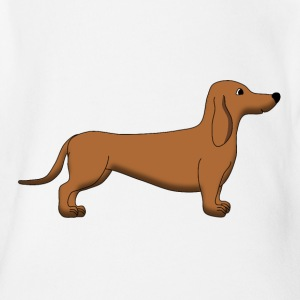 Dachshund Brown Shirts - Organic Short-sleeved Baby Bodysuit