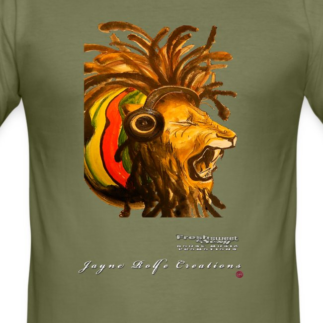 (EXCLUSIVE to FSS) Jayne Rolfe Creations - Dred Lion 4 Men's Slim Fit T-Shirt