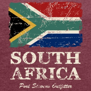 South Africa Flag - Vintage Look T-Shirts - Frauen T-Shirt mit gerollten Ärmeln