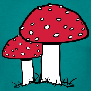 2 red mushroom points toadstools toxic grass fores T-Shirts - Men's T-Shirt
