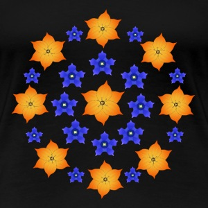 Flowers orange and blue T-shirts - Dame premium T-shirt