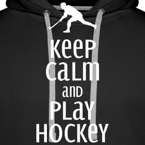 keep calm and play hockey Bluzy - Bluza męska Premium z kapturem