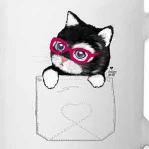 Sweet Kitty with hipster glasses in pocket Mugs & Drinkware - Mug