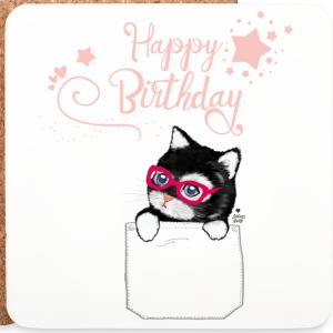 Happy Birthday with Hipster Kitty Mugs & Drinkware - Coasters (set of 4)
