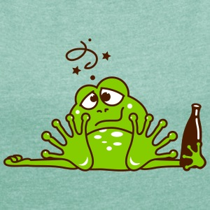 a drunken frog with a beer bottle T-Shirts - Women's T-shirt with rolled up sleeves