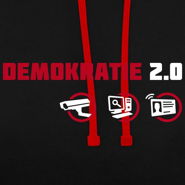 Demokratie 2.0 Kontrast-Hoodie