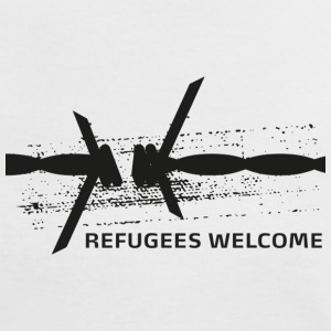 Refugees Welcome Barbwire - Frauen Kontrast-T-Shirt
