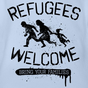 Refugees Welcome - black T-Shirts - Baby Bio-Kurzarm-Body