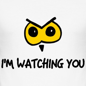 owl watching you T-Shirts - Männer Slim Fit T-Shirt