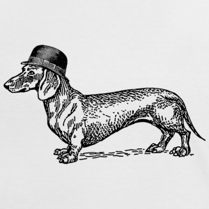 Wit/zwart Dog with hat T-shirts - Vrouwen contrastshirt