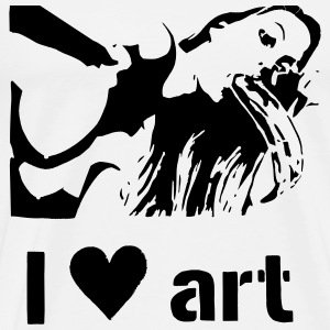 I love art stencil B/W T-Shirts - Men's Premium T-Shirt