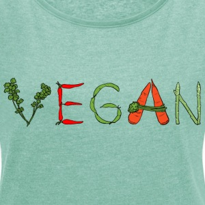 Vegan Veggies T-Shirts - Women's T-shirt with rolled up sleeves