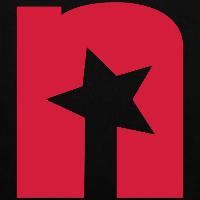 Stoffbeutel, schwarz - Logo rot