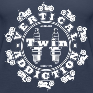 Vertical Twin Addiction -White logo with Bikes - Women's Premium Tank Top