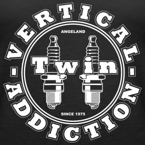 Vertical Twin Addiction -White logo  - Women's Premium Tank Top
