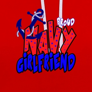 Proud Navy Girlfriend Hoodies & Sweatshirts - Contrast Colour Hoodie