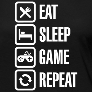 Eat sleep game repeat Long Sleeve Shirts - Women's Premium Longsleeve Shirt