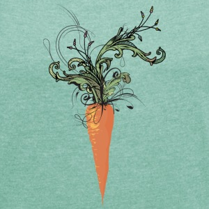 floral carrot T-Shirts - Women's T-shirt with rolled up sleeves