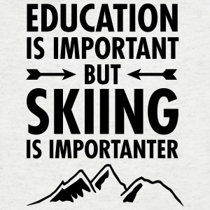 Education Is Important - But Skiing Is Importanter T-shirts - T-shirt med v-ringning herr