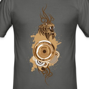 Circles&Panther-Brown T-Shirts - Men's Slim Fit T-Shirt