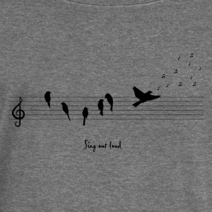 Gris foncé spread the music with birds Sweat-shirts - Pull Femme col bateau de Bella