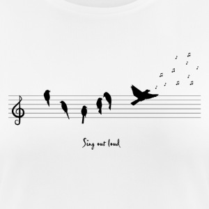 Blanc spread the music with birds Tee shirts - T-shirt respirant Femme