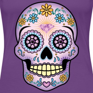 Purple Sugar Skull - Women's Premium T-Shirt