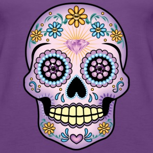 Purple Sugar Skull - Women's Premium Tank Top
