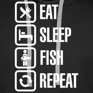 Eat - sleep  -fish - repeat Gensere - Premium hettegenser for menn