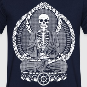 Navy Skeletton Buddha White T-shirts - Mannen T-shirt met V-hals