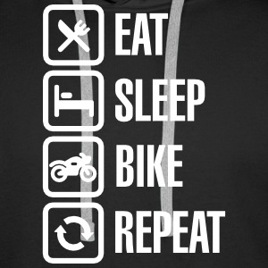 Eat - sleep - (motor)bike - repeat Gensere - Premium hettegenser for menn