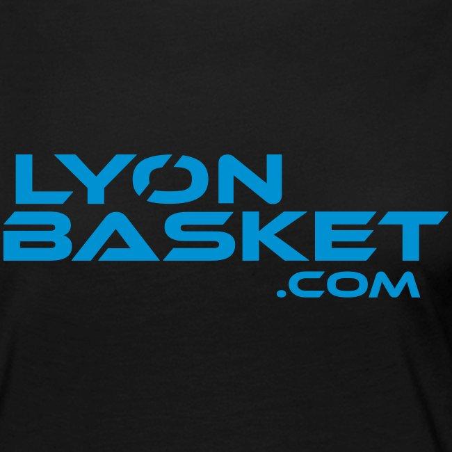 T-shirt manches longues Femme noir logo bleu ciel