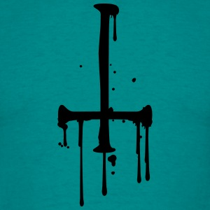 blood drop cross inverted Satanic Satanist T-Shirts - Men's T-Shirt