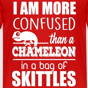 I'm confused like an cameleon in a bag of skittles T-Shirts - Kinder Premium T-Shirt