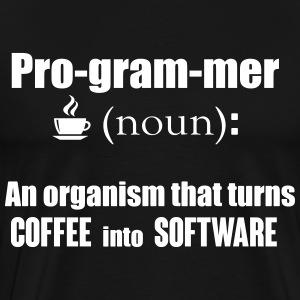 Programmer: organism that turns coffee info code T-skjorter - Premium T-skjorte for menn