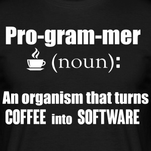 Programmer: organism that turns coffee info code Koszulki - Koszulka męska