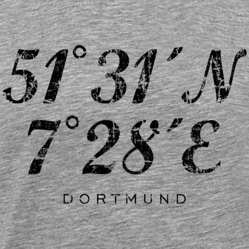 Dortmund Koordinaten Vintage Schwarz