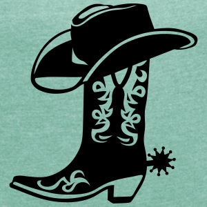 Cowboy boot hat logo 6 T-Shirts - Women's T-shirt with rolled up sleeves