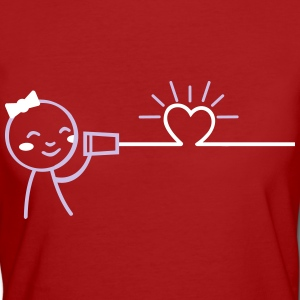 love tin can telephone couple shirt - girl T-Shirts - Frauen Bio-T-Shirt