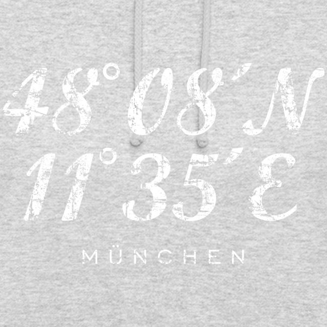 München Koordinaten (Vintage/Weiß) Hoodie