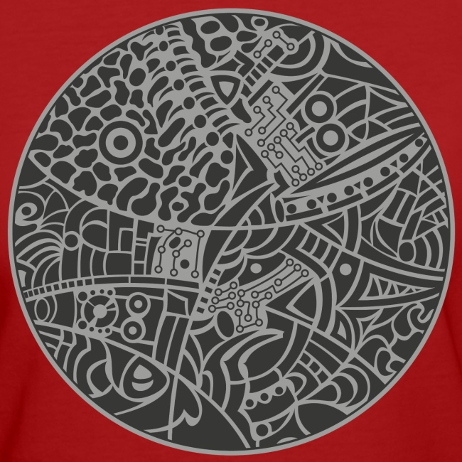 Woman's Organic T-Shirt by Continental with globe tribal design in grey colors
