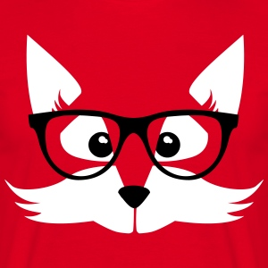 Rouge nerd fox with glasses Tee shirts - T-shirt Homme