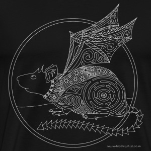 Flying rat drawing - Men's Premium T-Shirt