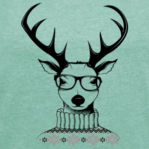 Hipster deer T-Shirts - Women's T-shirt with rolled up sleeves