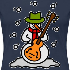 Snowman Guitar - white outline T-Shirts - Women's Premium T-Shirt