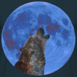 Galaxy Wolf and blue moon - Mannen T-shirt