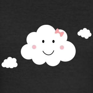 Happy cloud with Pink Ribbon T-Shirts - Men's Slim Fit T-Shirt