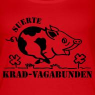 Motiv ~ Träger-Top Damen: Glücksschwein (schwarzer Aufdruck)