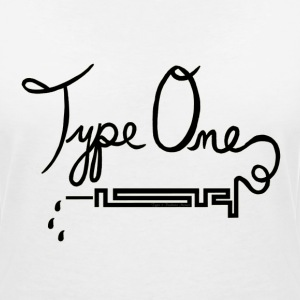 Type One Diabetes - Needle Design - Black T-Shirts - Women's V-Neck T-Shirt